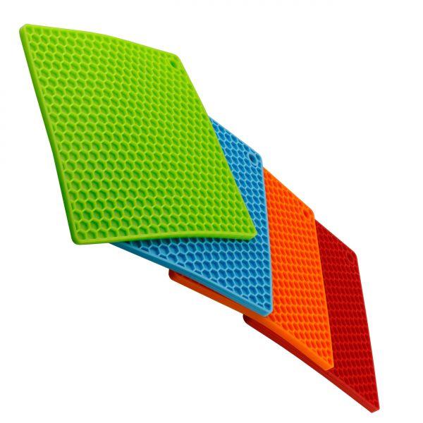 silikon topflappen topfuntersetzer 4er set orange rot blau gr n k che haushaltszubeh r. Black Bedroom Furniture Sets. Home Design Ideas