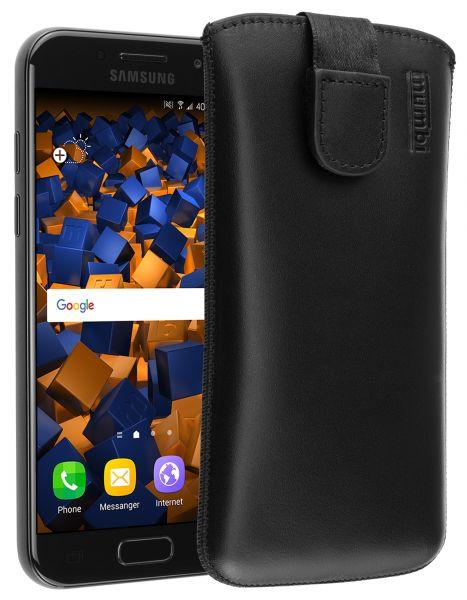 Leder Etui Tasche mit Ausziehlasche schwarz für Samsung Galaxy A3 (2017)