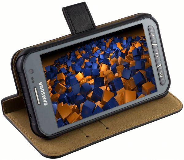 Bookstyle Ledertasche schwarz für Samsung Galaxy Xcover 3