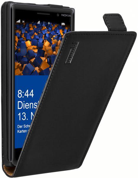 Flip Case Ledertasche schwarz für Nokia Lumia 830