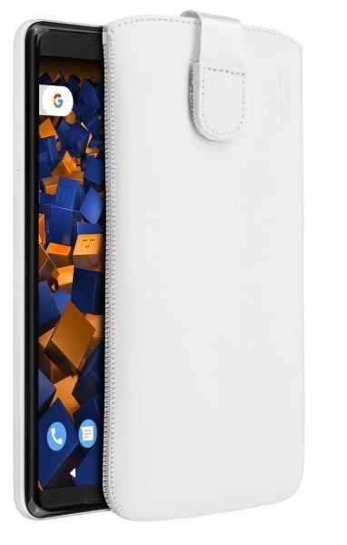 Leder Etui Tasche mit Ausziehlasche weiß für Google Pixel 2 XL