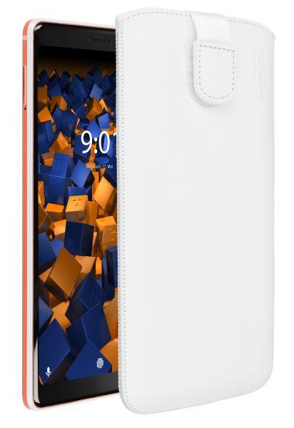 Leder Etui Tasche mit Ausziehlasche weiß für Nokia 7 Plus