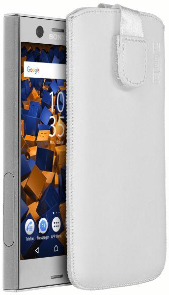 Leder Etui Tasche mit Ausziehlasche weiß für Sony Xperia XZ1 Compact