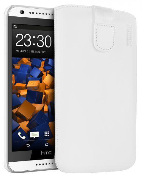 Leder Etui Tasche mit Ausziehlasche weiß für HTC Desire 620