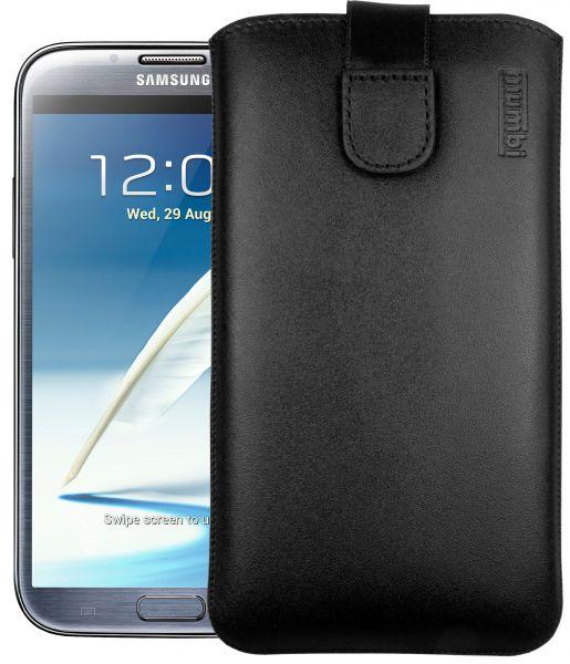 Leder Etui Tasche mit Ausziehlasche schwarz für Samsung Galaxy Note 2