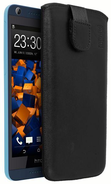 Leder Etui Tasche mit Ausziehlasche schwarz für HTC Desire 626G