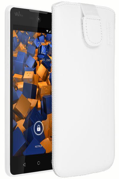 Leder Etui Tasche mit Ausziehlasche weiß für Wiko Rainbow Lite