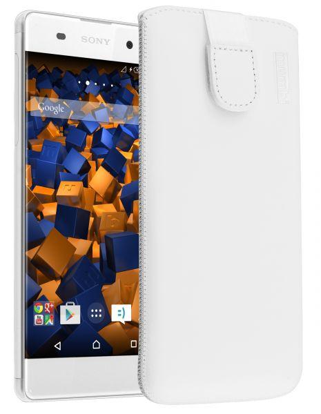 Leder Etui Tasche mit Ausziehlasche weiß für Sony Xperia XA