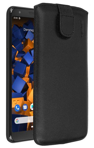 Leder Etui Tasche mit Ausziehlasche schwarz für Google Pixel 3a