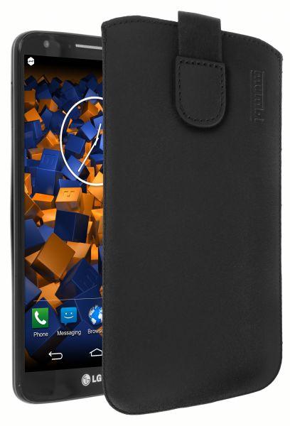 Leder Etui Tasche mit Ausziehlasche schwarz für LG G2