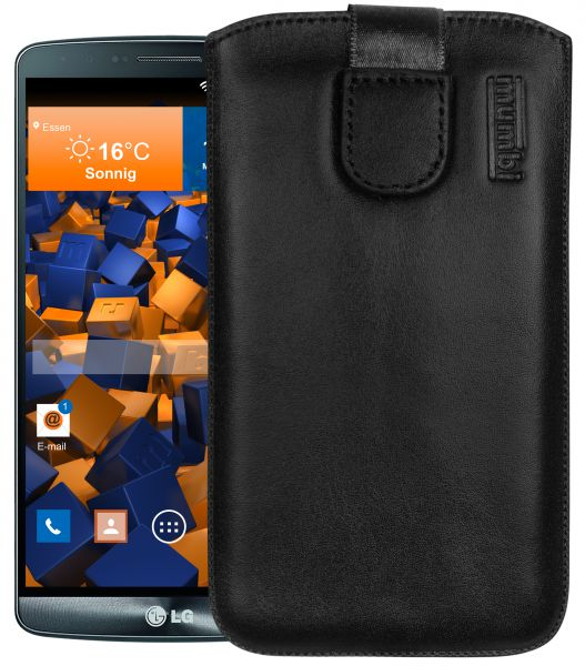 Leder Etui Tasche mit Ausziehlasche schwarz für LG G3