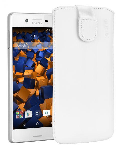 Leder Etui Tasche mit Ausziehlasche weiß für Sony Xperia X