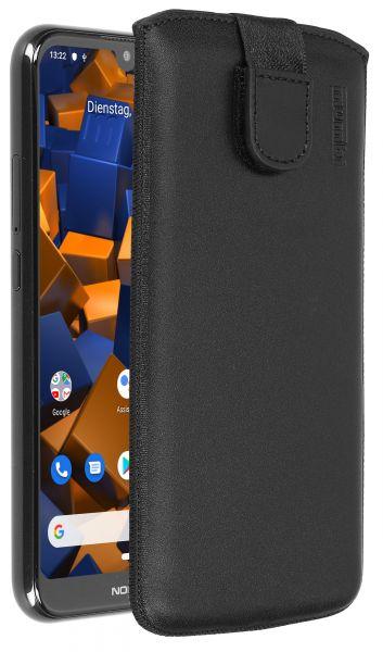 Leder Etui Tasche mit Ausziehlasche schwarz für Nokia 4.2