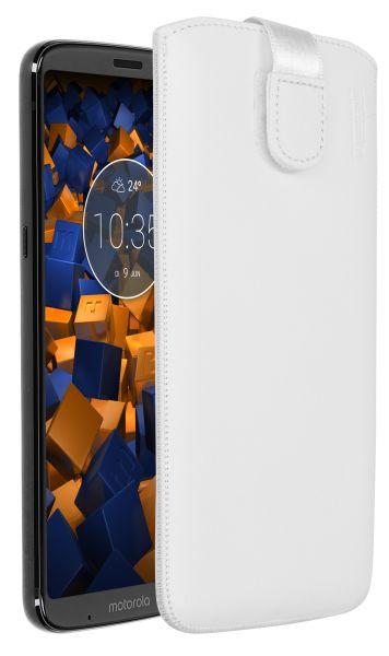 Leder Etui Tasche mit Ausziehlasche weiß für Motorola Moto Z3 Play