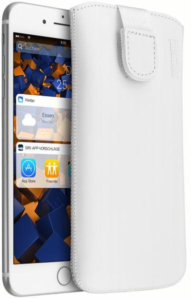 Leder Etui Tasche mit Ausziehlasche weiß für Apple iPhone 8 Plus / 7 Plus