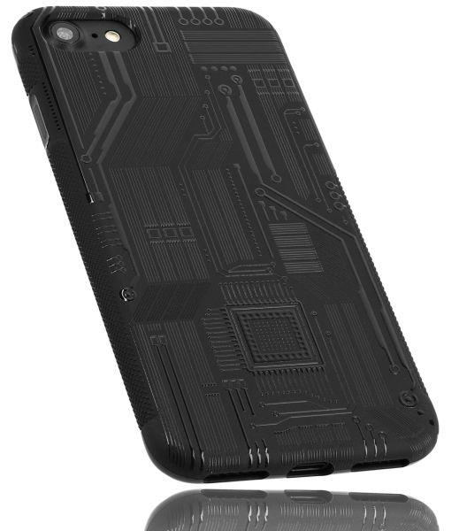TPU Hülle Grip schwarz Motiv Leiterbahnen für Apple iPhone 8 / 7