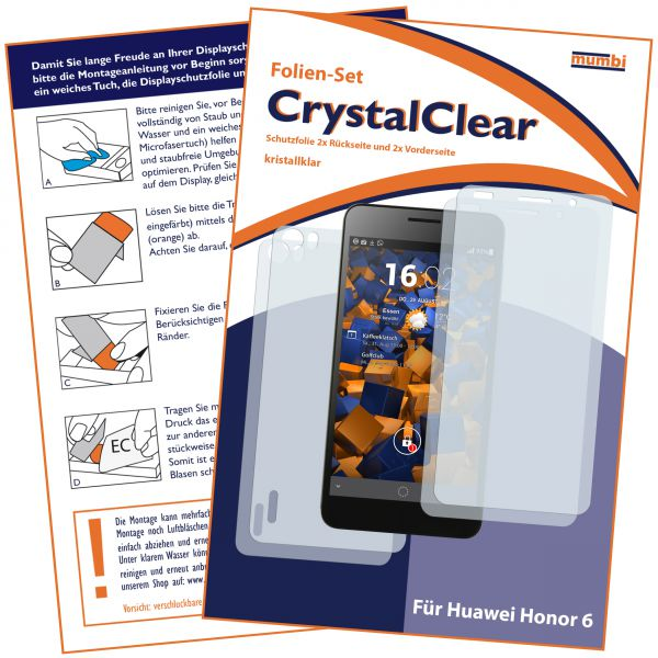 Displayschutzfolie 4 Stck. CrystalClear für Huawei Honor 6 (2x vorne und 2x hinten)