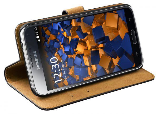 Bookstyle Ledertasche schwarz für Samsung Galaxy S5 / S5 Neo