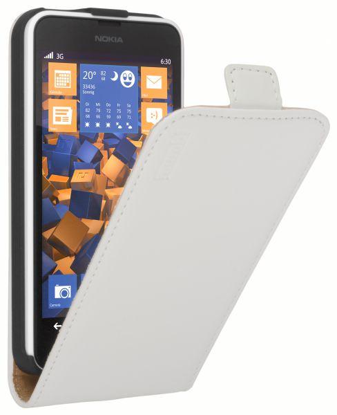 Flip Case Ledertasche weiß für Nokia Lumia 630 / 635
