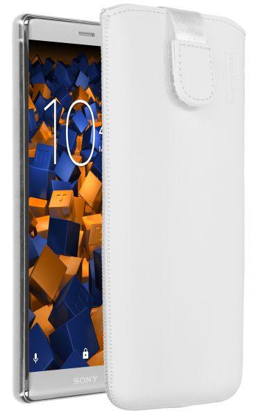 Leder Etui Tasche mit Ausziehlasche weiß für Sony Xperia XZ2