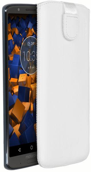 Leder Etui Tasche mit Ausziehlasche weiß für Motorola Moto G6 Plus