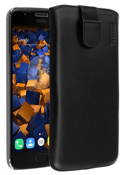 Leder Etui Tasche mit Ausziehlasche schwarz für Motorola Moto G5S