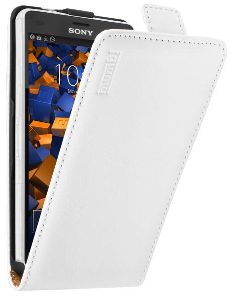 Flip Case Ledertasche weiß für Sony Xperia Z3 Compact