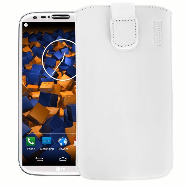 Leder Etui Tasche mit Ausziehlasche weiß für LG G2