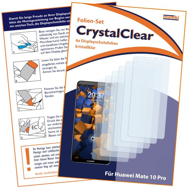 Displayschutzfolie 6 Stck. CrystalClear für Huawei Mate 10 Pro