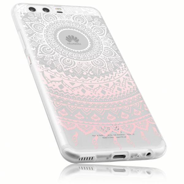 TPU Hülle Ultra Slim transparent weiß rosa Motiv Mandala für Huawei P10
