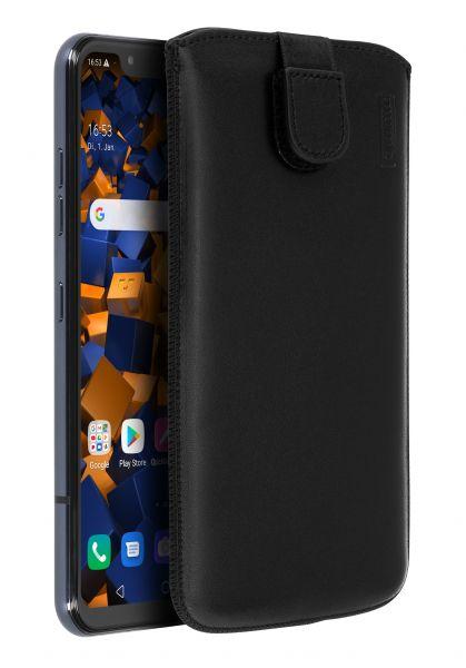 Leder Etui Tasche mit Ausziehlasche Etui schwarz für LG G8s ThinQ
