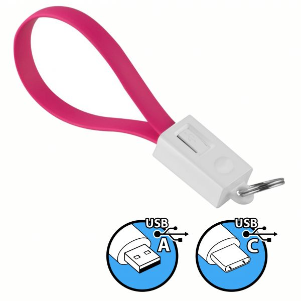 Daten- und Ladekabel USB A auf USB C Stecker Schlüsselanhänger in Pink