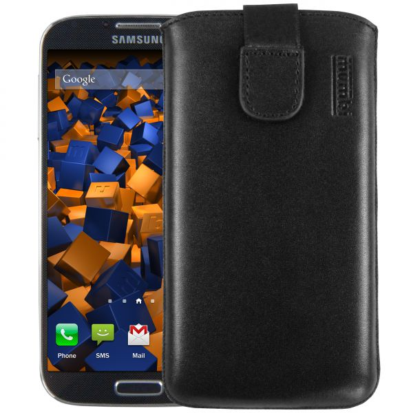 Leder Etui Tasche mit Ausziehlasche schwarz für Samsung Galaxy S4