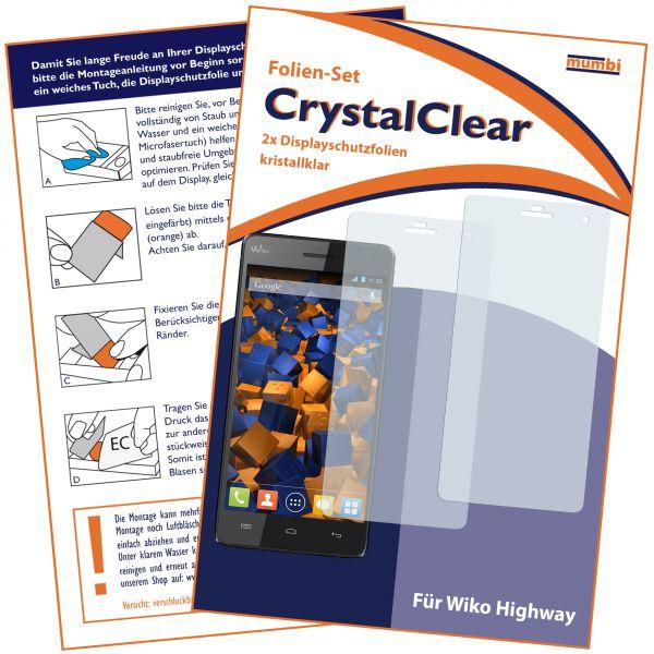 Displayschutzfolie 2 Stck. CrystalClear für Wiko Highway