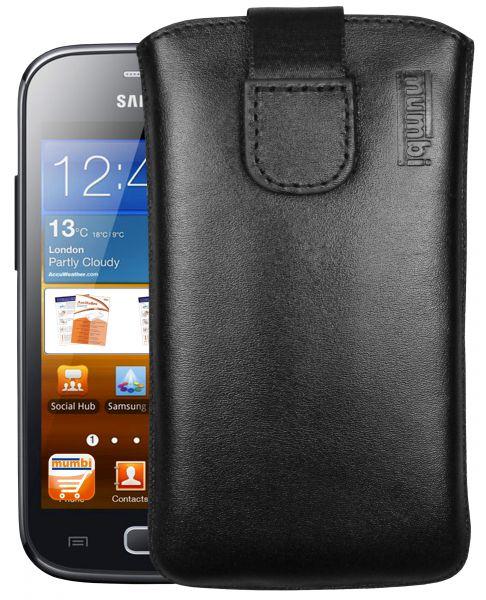 Leder Etui Tasche mit Ausziehlasche schwarz für Samsung Galaxy Ace 2