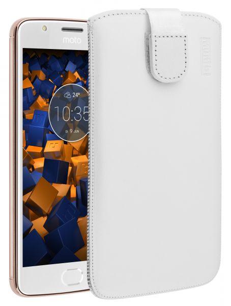 Leder Etui Tasche mit Ausziehlasche weiß für Motorola Moto E4
