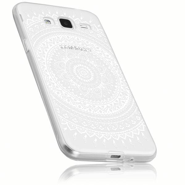 TPU Hülle weiß transparent Motiv Mandala für Samsung Galaxy J3 (2016)
