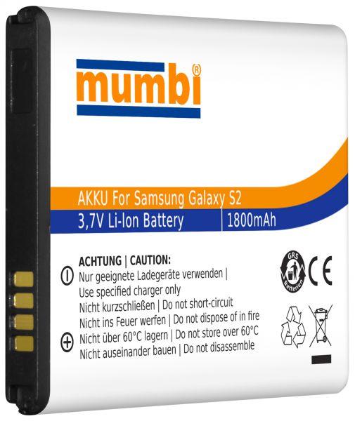 Ersatzakku Lithium-Ionen 1800 mAh (ohne NFC) für Samsung Galaxy S2 / S2 Plus