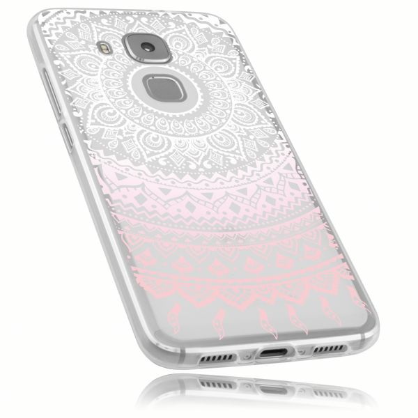 TPU Hülle Ultra Slim transparent weiß rosa Motiv Mandala für Huawei Nova Plus