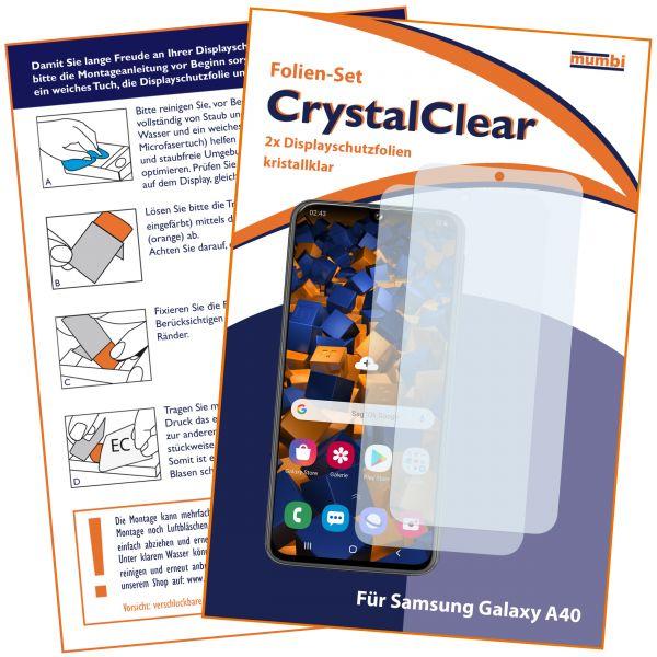Displayschutzfolie 2 Stck. CrystalClear für Samsung Galaxy A40