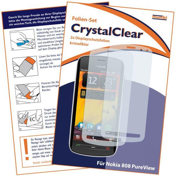 Displayschutzfolie 2 Stck. CrystalClear für Nokia 808 PureView