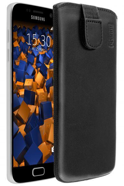 Leder Etui Tasche mit Ausziehlasche schwarz für Samsung Galaxy S7