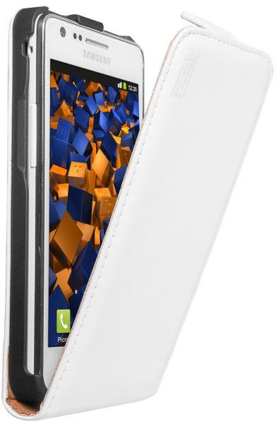 Flip Case Ledertasche weiß für Samsung Galaxy S2