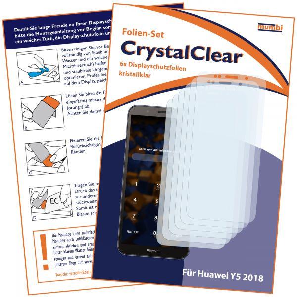Displayschutzfolie 6 Stck. CrystalClear für Huawei Y5 (2018)