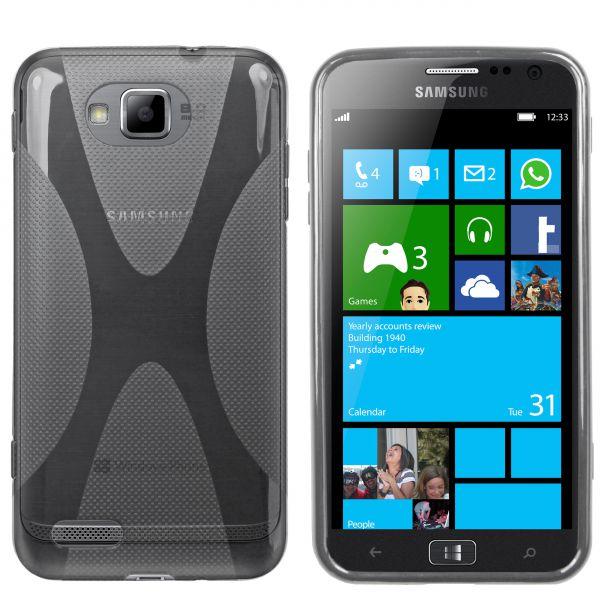 TPU Hülle X-Design schwarz transparent für Samsung Ativ S