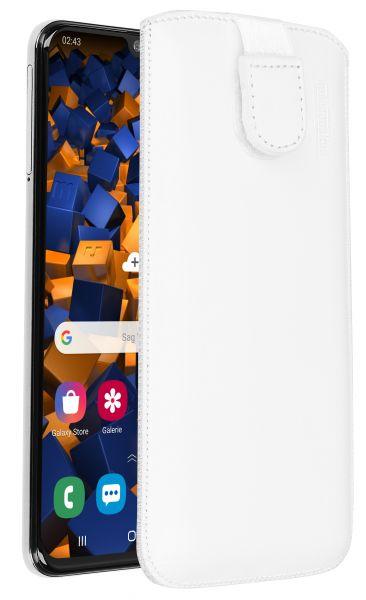 Leder Etui Tasche mit Ausziehlasche weiß für Samsung Galaxy A40