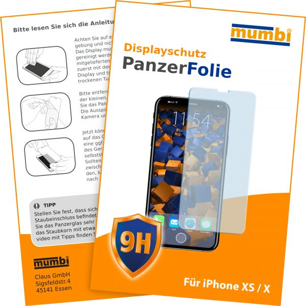 Panzerglasfolie Hartglas 9H für Apple iPhone XS / X