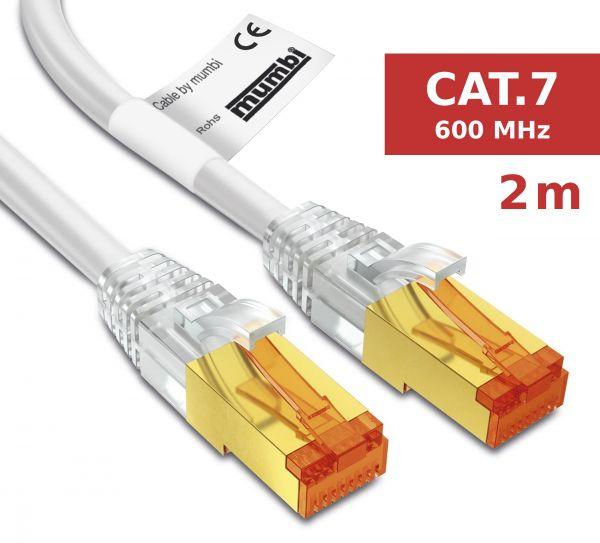 CAT 7 Rohkabel mit RJ45 Steckern Netzwerkkabel 2 Meter in Weiß