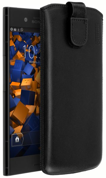 Leder Etui Tasche mit Ausziehlasche schwarz für Sony Xperia XZ1