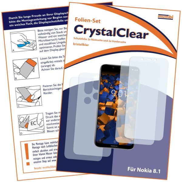 Displayschutzfolie 4 Stck. CrystalClear für Nokia 8.1 (2x vorne + 2x hinten)